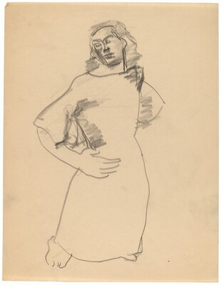Standing Figure in a Long Dress, Left Hand on Hip