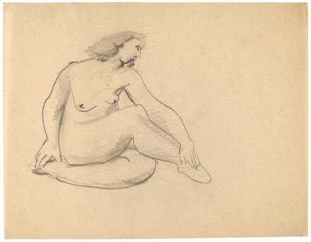 Seated Nude, Head Turned Right, Hands on Ankles