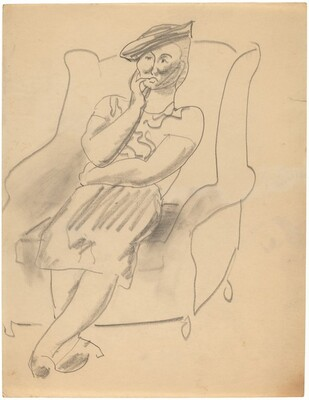 Seated Woman Wearing a Hat, Left Hand to Chin