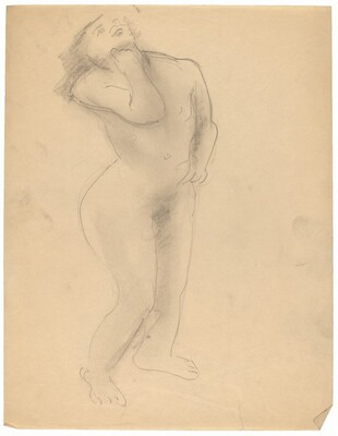 Standing Nude Looking Up, Left Hand at Chin