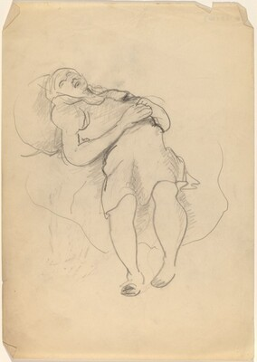Woman Reclining, Hands Clasped on Stomach, Feet on Floor
