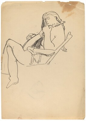 Seated Figure Playing a Lute [recto]