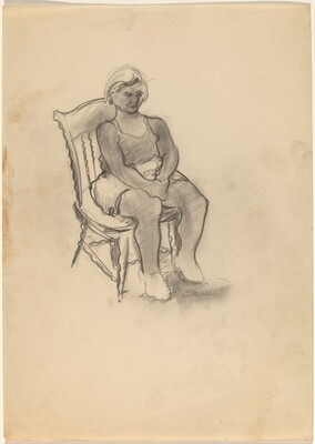 Woman Seated in a Chair, Hands Clasped in Lap