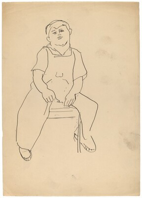 Seated Male Wearing Overalls