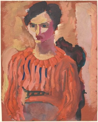 Untitled (seated woman with short hair wearing an orange shirt)