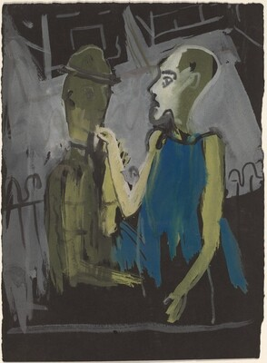 Two Figures Standing Near a Fence at Night