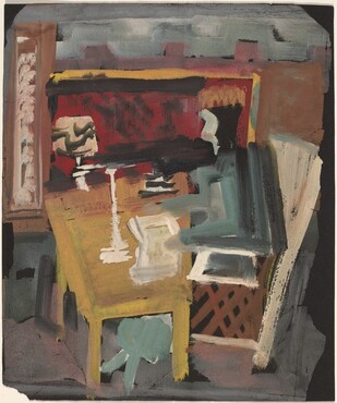 Interior with Figure Sitting Behind a Desk [recto]