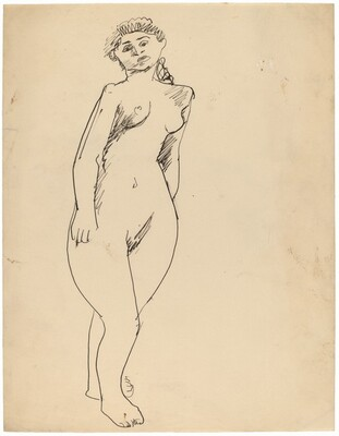 Standing Female Nude, Head Tilted Left