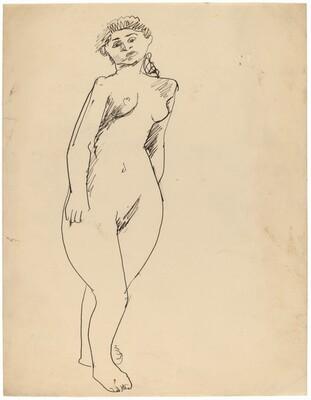 Standing Female Nude, Head Tilted Left
