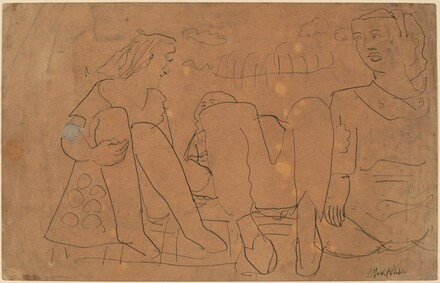 Three Figures Seated on a Blanket