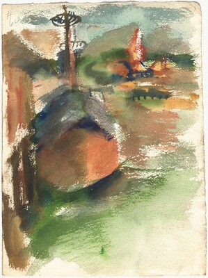 Landscape Scene with a Docked Boat [verso]
