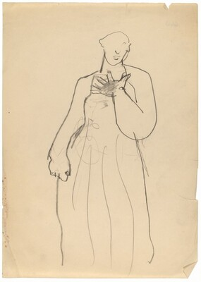 Standing Figure with Right Hand on Chest