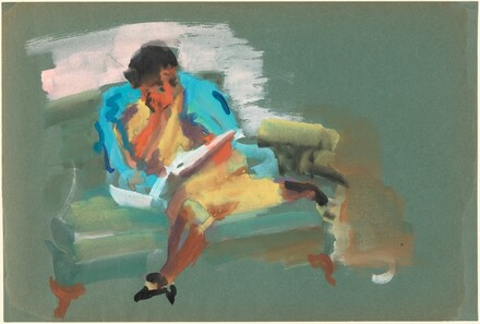 Woman Seated on a Sofa Reading