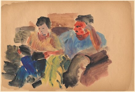 Two Figures Seated on a Sofa