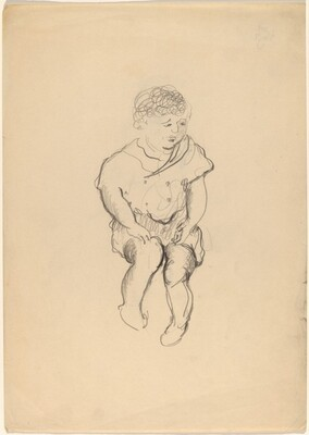 Seated Woman with Curly Hair