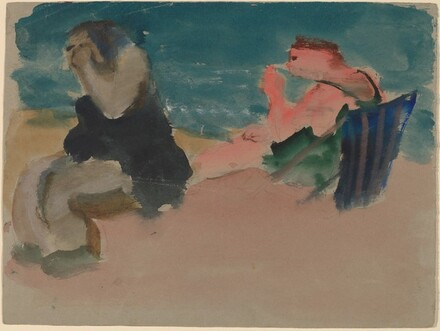 Two Figures Seated on the Beach