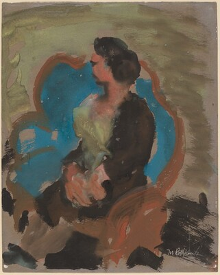 Woman in a Large Blue Chair