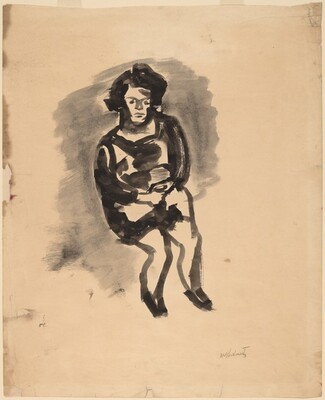 Seated Woman with Hands Folded in Lap