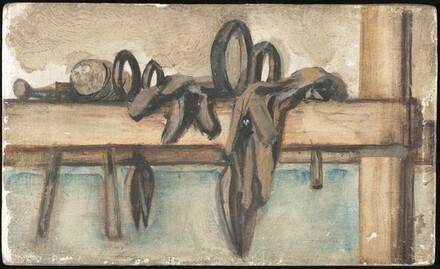 Untitled (still life with mallet, scissors and two gloves)