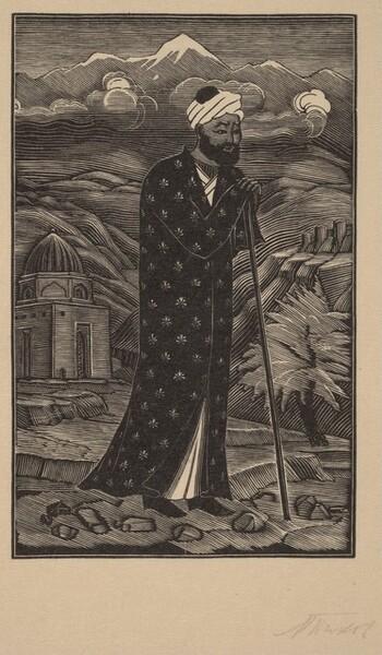 Man in Patterned Robe, Wearing Turban
