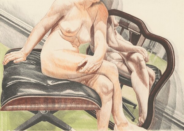 Nude on Eames Stool (with Mirror)