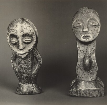 Amulet, Figure with Two Masks, and Amulet, Two Figures Embracing, WaRegga