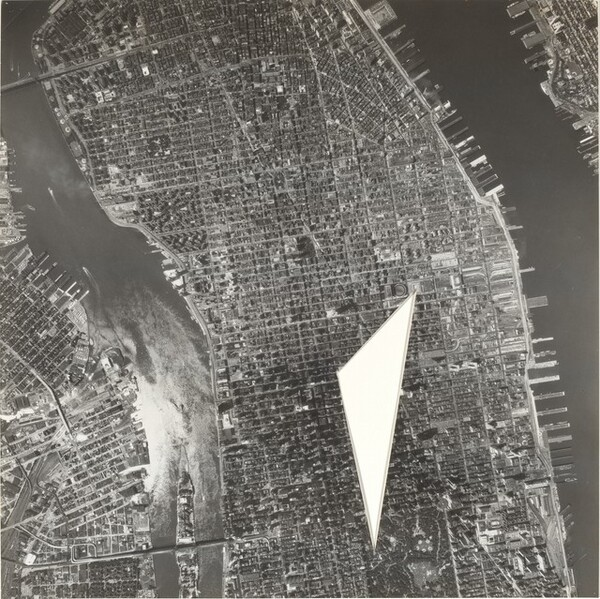 A Photo of Central Manhattan with the Area between the Central Park Zoo, the Main Library Branch, and the Central Post Office Cut Out
