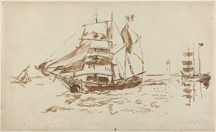 Sailboats near a Lighthouse