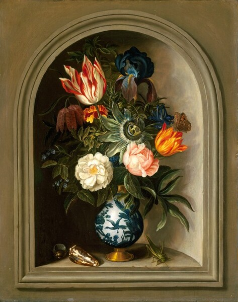 Vase of Flowers in a Niche