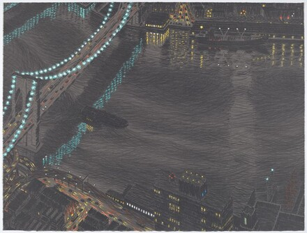 Brooklyn Bridge Reflected, Night