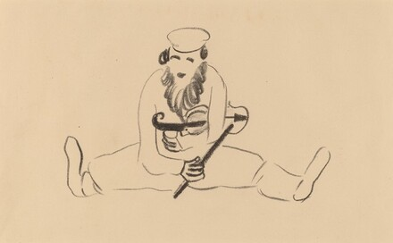 Bearded Man Seated with a Violin under His Arm