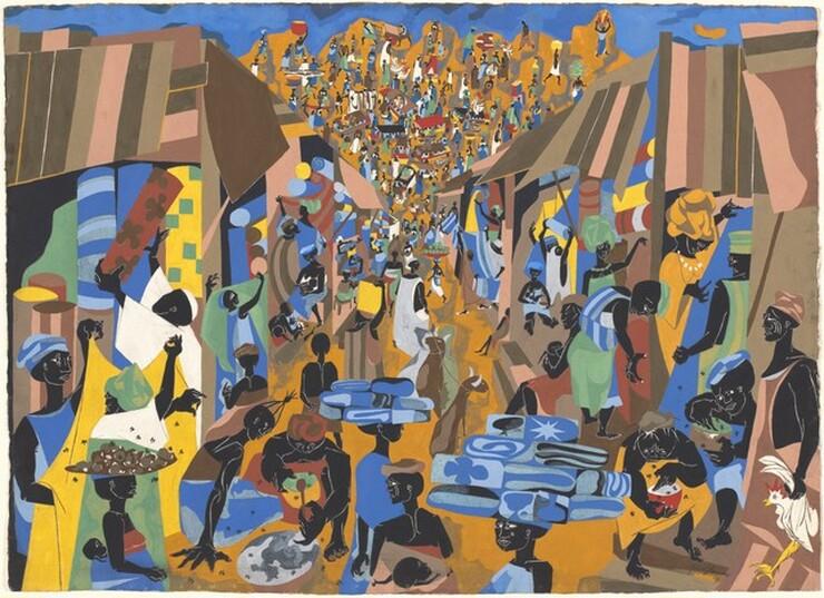Jacob Lawrence, Street to Mbari, 1964