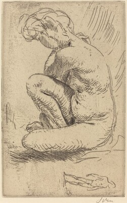 Nude Girl Seated, with One Knee Raised