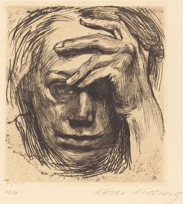 Self-Portrait with Hand on Forehead (Selbstbildnis mit der Hand an der Stirn)