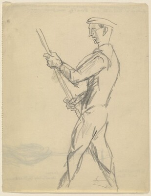 Young Man Holding a Pole