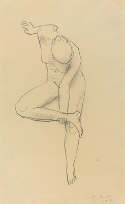 Nude Figure Standing and Holding Her Ankle