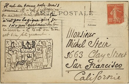 Postcard with a sketch of The Painter's Family