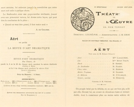 Théâtre de l'Œuvre, for the Playbill of Aert
