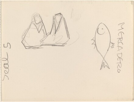 Two Seated Figures and Fish