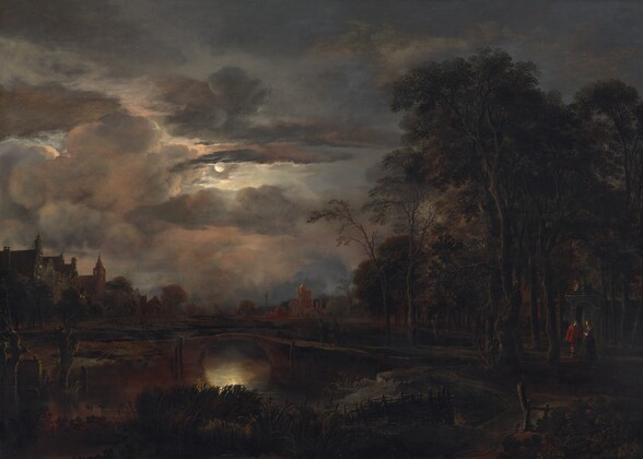 In almost complete darkness, we stand outdoors near reeds and grasses lining a river spanned by narrow, arched, stone bridge ahead of us in this moonlit, horizontal landscape painting. The horizon line comes about a third of the way up the painting, just over the footbridge, and the sky is filled with clouds that glow blush pink, flint gray, and lavender. The small, porcelain white moon casts an opalescent gleam on the water under the arch of the bridge. Barely visible in the gloom, a walking path lined by a fence in the lower right corner leads to a copse of tall trees to our right. Closer inspection reveals a man wearing crimson red and a woman wearing pine green standing together near the gate of a walled enclosure beyond the trees.  Moonlight glints on their white collars and cuffs, and on the gold buttons and embroidery on their clothing. Spires and buildings with stepped rooflines along the riverbank are outlined against the illuminated sky, though details are swallowed in shadow.
