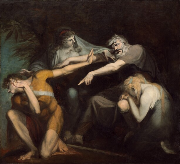 The bodies of four people are locked together through dramatic gestures and poses against a dark background in this nearly square painting. The two men and two women all have pale white skin and together they almost fill the composition. A man with a white beard and hair wears a short sleeved brown garment and sits to the right of center. His body faces our left and both of his arms reach straight out at shoulder height. His head juts forward and his bulging eyes appear white. He points towards a younger man kneeling in front of him with his left hand. Near the left edge of the canvas, the younger man's body also faces our left and kneels on his left knee. His body leans forward over his right knee, which is bent so his foot is flat on the ground. His head is thrown back and his right hand, on our left, crosses his body and is raised as if to shield his face. His opposite arm extends so that the raised flat of his hand is close to the old man's face. The young man has dark hair and wears a tight-fitting, short-sleeved golden yellow tunic. One woman with long blond hair rests her hands and forehead head on the old man's knee in the lower right corner. The second woman stands behind the pair of men with her arms spread wide so one hand reaches over the shoulder of the old man and her opposite hand nearly touches the younger man's head. She has long, curly brown hair and she looks at the older man with her lips parted. Both women wear white and pale gray garments and their skin is noticeably pale, as if carved from white marble. There is the suggestion of blue sky beyond some trees along the left edge of the composition but the rest of the background is deep in shadow.