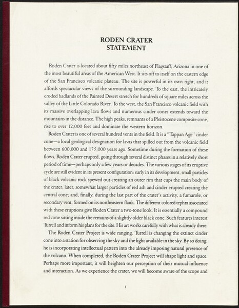 Roden Crater: Statement Book