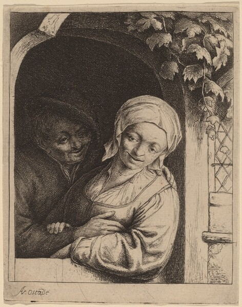 Peasant Couple in a Doorway (Village Romance)