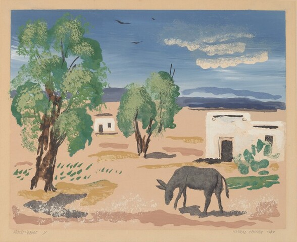 Untitled (Mexican Village, with donkey in foreground)