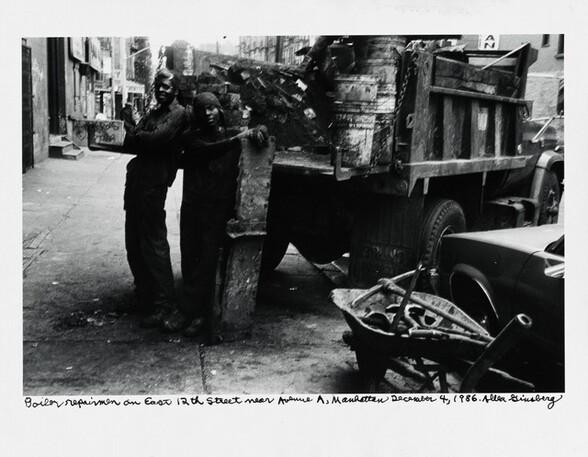 Boiler repairmen on East 12th Street near Avenue A, Manhattan December 4, 1986.