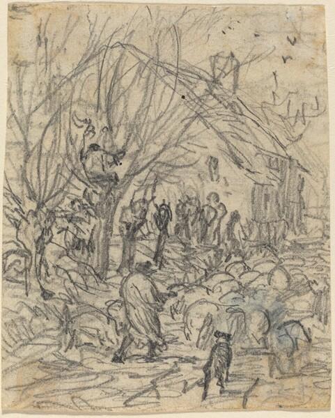 A Flock of Sheep before a Farmhouse
