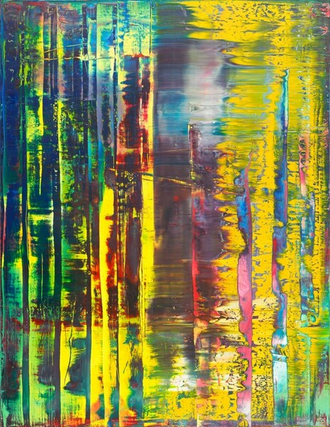 Vibrant, lemon-yellow, plum-purple, cobalt blue, spring and mint green, cotton-candy pink, and crimson are layered, streaked, and blended in loose columns in this vertical abstract painting. The artist created this by pulling a long squeegee—as tall as this canvas—across from our left to right to smear and expose layers of paint. Vertical bands of contrasting color suggest that the squeegee was paused or pressed down at intervals. For instance, in a field dominated by bright yellow on the right half of the composition, one vertical band seems to expose underlayers of bubble-gum pink and azure-blue. The left half of the painting is mostly blues, greens, and purples, with touches of the same yellow that covers much of the right half. Separating the two halves, a wide streak of slate-blue, turquoise, plum-purple, white, and yellow blend in some areas to almost make brown.