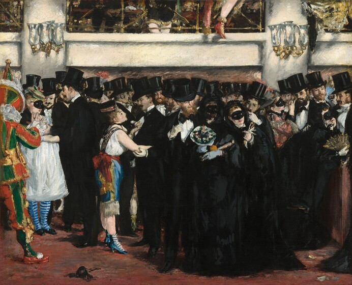 """A densely packed crowd of men and women, all of them with white skin and most of them wearing velvety black, stand in a theater lobby beneath a mezzanine level that runs close to the top edge of the composition in this horizontal painting. Because the crowd spans the width of the composition and most of the men wear black suits and tall, shiny top hats, and many of the women also wear rich black dresses, the first impression is of a mass of deep black stretching across the canvas. Slowly, individual faces and poses become evident. Only five of the women wear black, oval masks that cover their eyes and noses, despite the painting's title, and one more mask has fallen onto the red floor below. Two women, wearing bright white and colorful clothing, engage some of the men in conversation. A man cropped by the left edge of the painting wears the green, red, and gold costume and pointed cap of a court jester. Two gold and glass wall sconces hang on the cream colored wall behind the crowd, one near each top corner. The space within the mezzanine level above is painted loosely so details are difficult to make out, but a pair of legs clad in black britches and white stockings seems to stand with ankles crossed at the top center. A leg wearing a red high-heeled ankle boot dangles outside of the railing to the right. The brushstrokes are loose throughout. The artist's signature appears on a piece of discarded paper on the floor near the lower right corner: """"Manet."""""""