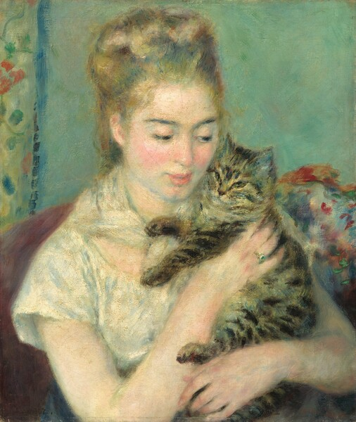 Shown from about the waist up, a young woman wearing white sits in an armchair cuddling a brown and black striped cat in this vertical painting. The wall behind her is seafoam green and the edge of a yellow floral curtain lines the left edge of the canvas. The woman's body is angled to our right and she looks at the cat with dark eyes. The woman's light brown hair is pulled up and her pale skin is accentuated by rosy cheeks. Her bare arms enfold the cat, held upright against the left side of her body so its head rests against her cheek. She supports the cat's upper body with her right hand, on which she wears an emerald ring. The cat's lower body nestles into the crook of the woman's left arm and its paws are extended. The white and blue tones of the woman's short-sleeved dress and kerchief tied around her neck contrast against the muted burgundy color of the armchair behind her. To our right, behind the woman, vibrant, loose brushstrokes in red, orange, green, violet, and white evoke a floral arrangement.