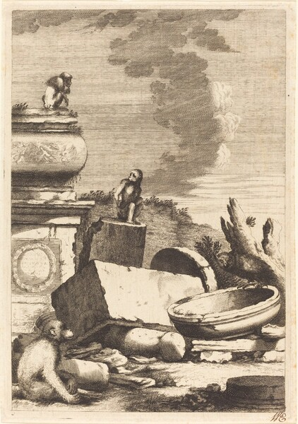 Ruins with Monkeys and an Owl